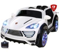 Детский электромобиль Electric Toys Porsche Cayenne Turbo Lux мягкие кол. кожанное сидение ,цвет белый